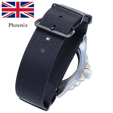時計 腕時計 ベルト 時計バンド イギリス Phoenix フェニックス社製 オールブラック NATO軍G10 正規 ナイロンストラップ 20mm 22mm 英国製