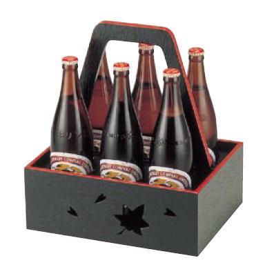 木製 6本用ビール運び 黒天朱 1-830-11【ボトルキャリア】【ビール運び】【瓶ビール】【宴会用品】【業務用】