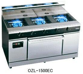 【送料無料】新品!オザキ ガスレンジ(3口+ヒートトップ) ワイドレシーバー W1500*D785*H850(mm) OZL-1500EC [厨房一番]