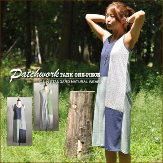 SALE patchwork switching ★ ロングタンクワン piece!