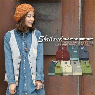 Just SALE Shetland ★ shaggy dock wind brushed knit V best
