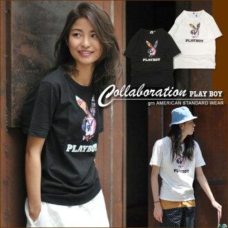 ジーアールエヌ * [grn×PLAYBOY] Playboy Rabbit Head ★ collaboration t-shirt