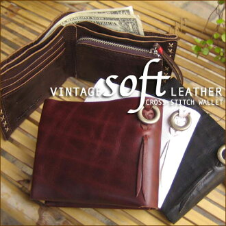 SALE [] 35% Vintage ☆ cowhide leather クロスステッチウォレット [shipping]