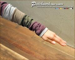 【送料無料】パッチワーク切替★2WAY指穴付カットソー♪〔M/L/LL〕[ネコポス(メール便)発送]