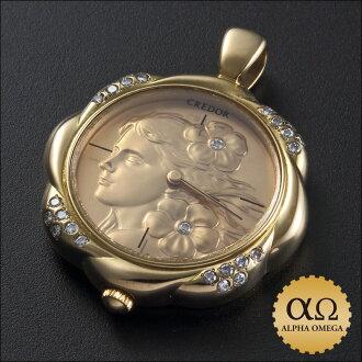Seiko credor pendant watch Ref.2F70-0080 gold ダイアモンドベゼル 1986