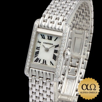 Cartier mini tank White Gold Diamond shell dial Asia Limited 1999