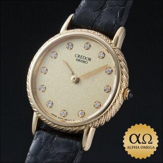 Seiko credor authentic Ref.5A70-0400 gold gold dial diamond index 1990