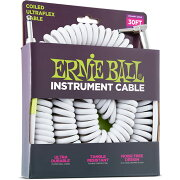 ERNIEBALL604530'CoiledStraight/AngleInstrumentCableWHITEギターケーブル