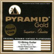 PYRAMIDSTRINGSEGGold12strings010-042chromenickelflatwoundsonroundcoreフラットワウンド12弦用エレキギター弦