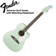FenderSonoranSCESurfGreenwithMatchingHeadstockSurfGreenエレクトリックアコースティックギター