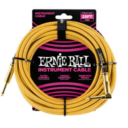 ERNIE BALL #6070 25ft Braided Cables Gold / Gold ギターケーブル