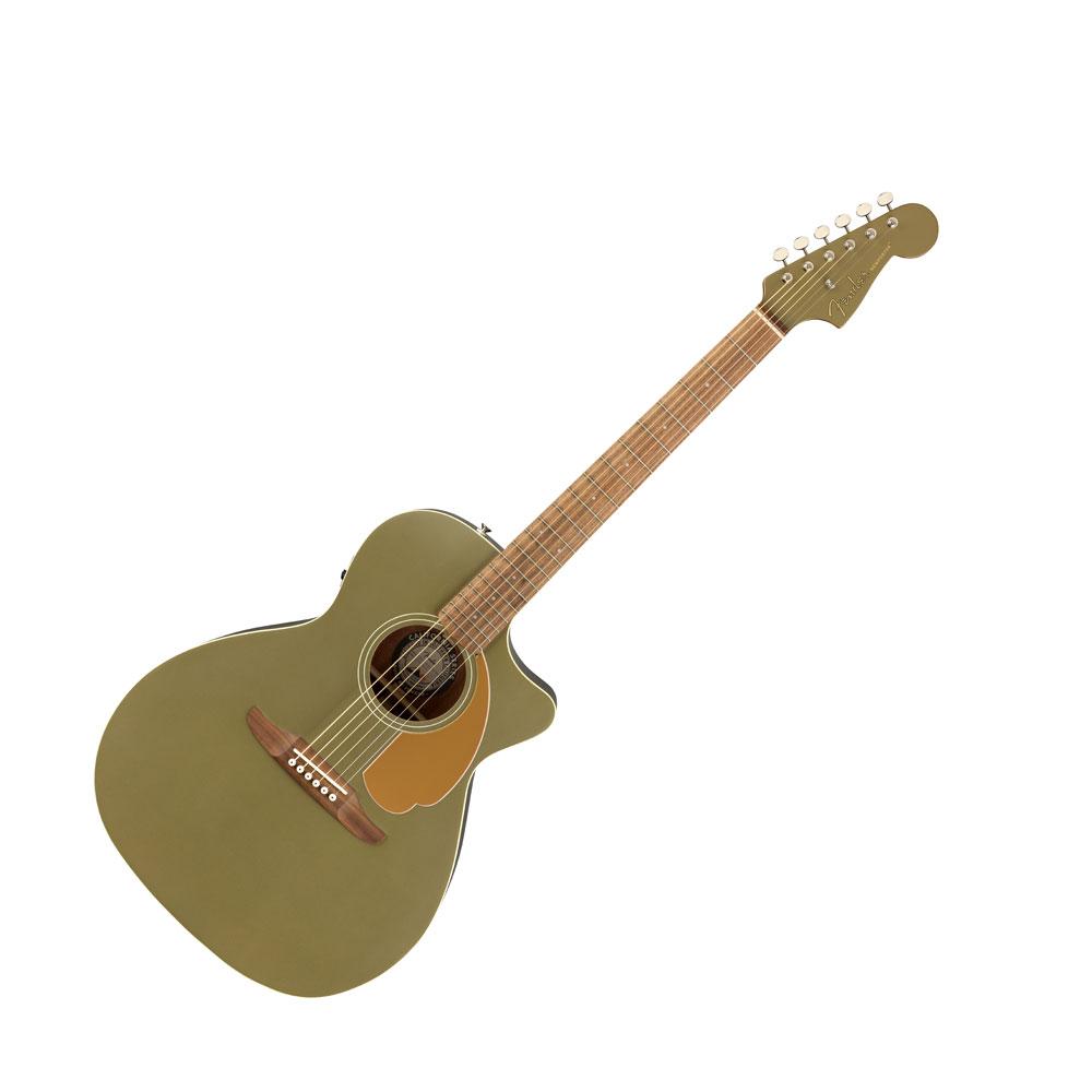 ギター, エレアコギター Fender Newporter Player Olive Satin WN