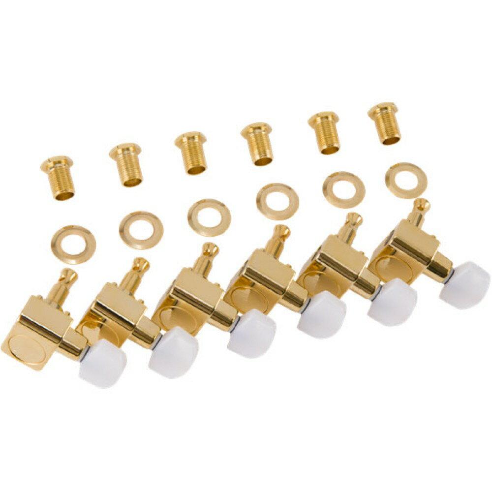 ギター用アクセサリー・パーツ, ペグ Fender Deluxe CastSealed Guitar Tuning Machines with Pearl Buttons Gold