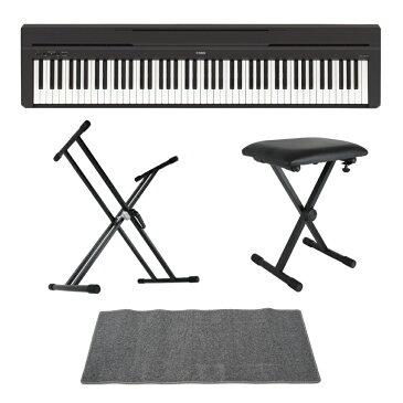 YAMAHA P-45B ブラック 電子ピアノ Dicon Audio KS-020 X型キーボードスタンド キーボードベンチ ピアノマット(グレイ)付きセット