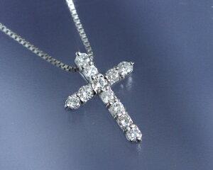 4月の誕生石ダイヤモンド0.2ctクロスネックレスペンダント【K18ホワイトゴールド(K18WG)】【送料無料】