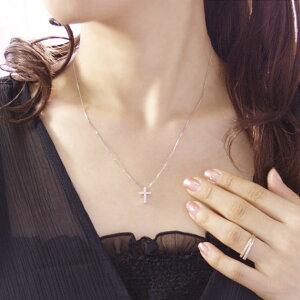4月の誕生石ダイヤモンド0.2ctクロスネックレスペンダント【K18ホワイトゴールド(K18WG)】【送料無料】モデル