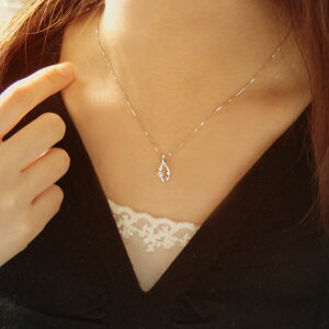 4月の誕生石ダイヤモンド0.11ctネックレスペンダント「リーフ」【K10ホワイトゴールド(K10WG)】【送料無料】モデル