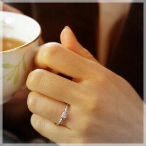 4月の誕生石☆ダイヤモンド0.13ctリングハート・パヴェK18WG【7~13号対応】モデル