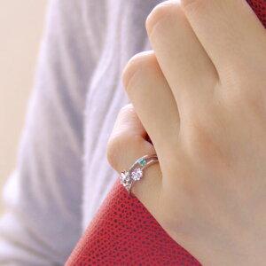 ピンキーリング5月誕生石エメラルド/ダイヤモンド「ピュア・クローバー」【K10ホワイトゴールド(K10WG)】ピンキーリング【送料無料】国産日本製3
