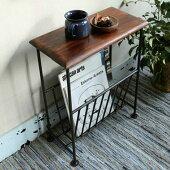 送料無料木製マガジンラック付きテーブルシーシャムウッド無垢材アイアンレトロビンテージアジアン
