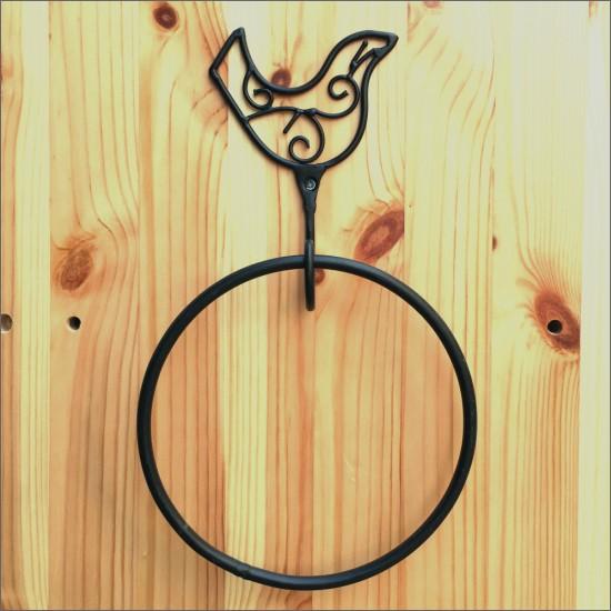 アイアン タオルハンガー バード ロートアイアン ハンドメイド 手作り インド カントリー ヴィンテージ アジアン 鳥 とり アイアン タオルかけ 壁面収納 タオル掛け お洒落 おしゃれ PS