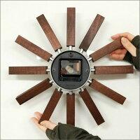 【送料無料】ジョージ・ネルソンインスパイア・クロックウォールナット掛け時計ミッドセンチュリー時計壁掛けおしゃれお洒落木製アンティーク壁掛け時計レトロビンテージヴィンテージジョージネルソン北欧GeorgeNelson