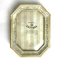 アンティークフォトフレーム八角ホワイトアンティークゴールド壁掛け写真立て写真たてフォトスタンドフレーム雑貨レトロシャビー八角形シャビー