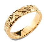 メンズハワイアンジュエリーハワイアンリングピンクゴールドシンプルk18ストレートヒラウチ地金リング彫金手彫り結婚指輪ハンドメイド18k18金4mmハワイスクロールクリスマスxmaschristmas