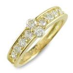 リングダイヤモンドk18指輪10周年記念イエローゴールドアニバーサリーテンダイヤモンド10粒ゴールド18k10石18金重ねづけレディース天然石【送料無料】サマー