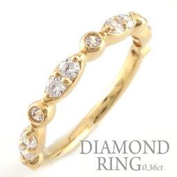 結婚指輪 婚約指輪 エンゲージリング ダイヤモンド リング k18 レディース ダイヤモンドリング ピンキーリング 18金 指輪 ダイヤモンド 0.36ct イエローゴールドk18 ダイヤ