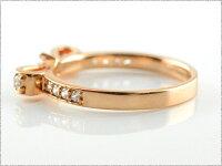 【送料無料】エメラルドピンキーリングリボンリングリボンダイヤモンドリングk1818k18金指輪ダイヤモンド誕生石ピンクゴールドk18ダイヤ婚約指輪結婚指輪レディース【_包装】サマーP01Jul16