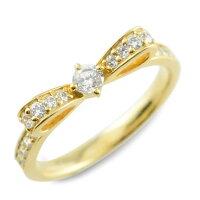 【送料無料】婚約指輪エンゲージリング結婚指輪ピンキーリングリボンリングダイヤモンドエンゲージリングリボンダイヤモンドリング指輪ダイヤモンドイエローゴールドk18ダイヤレディース