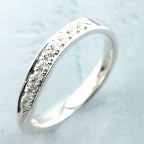 シルバー リング レディース シンプル 結婚指輪 ライン カーブ エンゲージリング ハンドメイド キュービックジルコニア