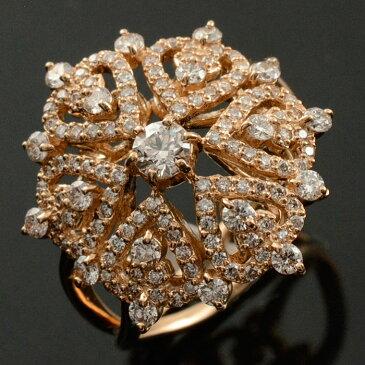 ダイヤモンドリング 指輪 ピンクゴールド 1.0ct ダイヤモンド アンティーク レース 18k k18 18金 レディース 透かし ゴールド 幅広 ゴージャス 花 フラワー ダイヤ マダム セレブ