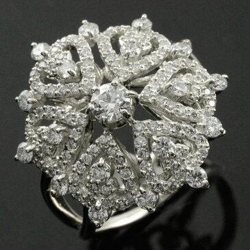 ダイヤモンドリング 指輪 プラチナ 1.0ct ダイヤモンド アンティーク レース pt900 レディース 透かし プラチナ900 幅広 ゴージャス 花 フラワー ダイヤ マダム セレブ