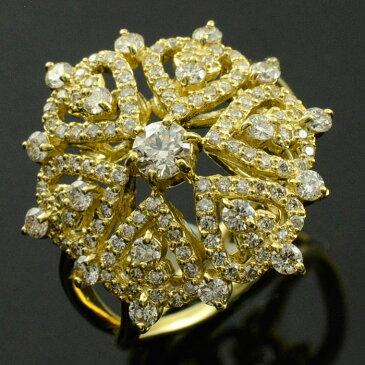 ダイヤモンドリング 指輪 ゴールド 1.0ct ダイヤモンド アンティーク レース 18k k18 18金 レディース 透かし 幅広 ゴージャス 花 フラワー ダイヤ マダム セレブ