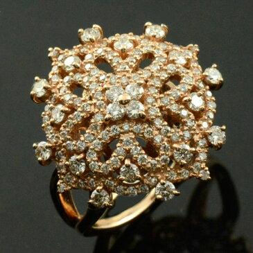 ダイヤモンドリング 指輪 ピンクゴールド 1.0ct ダイヤモンド ゴールド アンティーク レース 18k k18 18金 レディース 透かし 幅広 ゴージャス 花 フラワー ダイヤ マダム セレブ