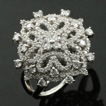 ダイヤモンドリング 指輪 プラチナ 1.0ct ダイヤモンド プラチナ900 アンティーク レース pt900 レディース 透かし 幅広 ゴージャス 花 フラワー ダイヤ マダム セレブ