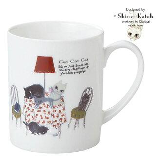 馬克杯白色貓和黑貓小玩意杯子分別 Shinji 加藤燈貓貓貓花式設計陶瓷餐具作在日本新生活內部生活雜貨店貝爾共同