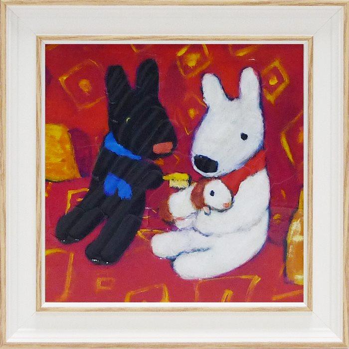取寄品 リサとガスパール フレンチアート 額付きポスターS ちいさなともだち 可愛い 絵本キャラクターグッズ 通販