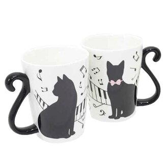 可愛黑貓馬克杯咖啡杯 2 件設置鋼琴 Alta 蜜月慶典禮品餐具商店電影院集合