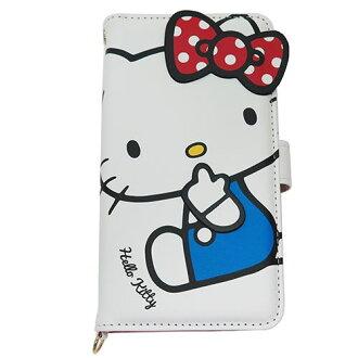 你好凱蒂智慧手機一般案件多掀蓋米白色三麗鷗絕交 iPhone Android 相容型夾克動漫店電影院藏書