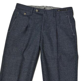 PT011褶褲子NORTHERN LIGHTS CARROT FIT CO43 0350 wool strech dot NAVY(諾森權利胡蘿卜合身羊毛伸展深藍)
