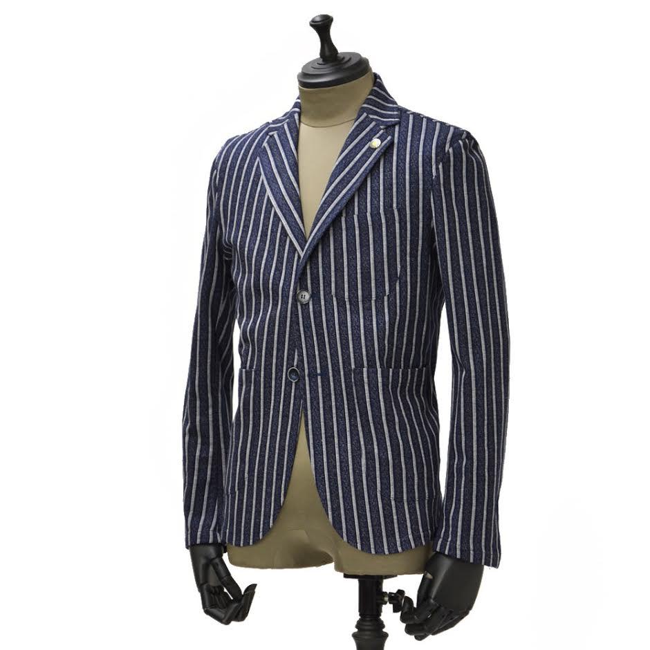 Giannetto【ジャンネット】シャツジャケット 6G190JK コットン ストライプ インディゴ ホワイト:CINQUE un ALTRO