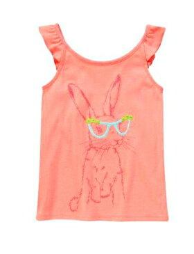 GYMBOREE(ジンボリー)サーモンピンクにサングラスをしたうさぎさんキュートなデザインキャミソール!