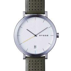 ヒュッゲHYGGE腕時計2203HGE020061KhakiLeather/WhiteDial