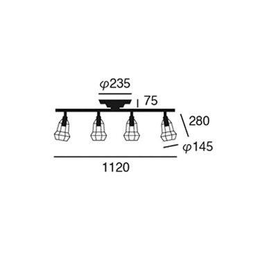 ART WORK STUDIO アートワークスタジオ Polygonal 4 Remote Ceilling lamp B ポリゴナ 4 リモートシーリングランプ C 白熱球 AW-0500V BK/BK ブラック/ブラック 【送料無料】