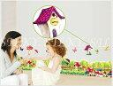 送料無料 ウォールステッカー 【フェンスとお家ときのこ】 秋 小人の家 気球 蝶 グリーン citrus-shop ウォール ステッカー シール 北欧 はがせる 壁紙  シルキー 1