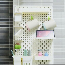 【高強度・優れたデザイン性】有孔ボードバスルーム浴室壁面収納壁掛け取付簡単工具不要耐荷重20kgグレーインテリア収納560x360x5mmペグボードパンチングボードおしゃれ収納キッチンリビンDIYDパーツ付き5点セット/グレー