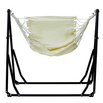 2WAY自立式ポータブルハンモック&チェアー収納バッグ付きSifflusブラックSFF-03-BKスタンド自立折りたたみ室内アウトドアハンモックチェア椅子イス阪和おしゃれインテリア